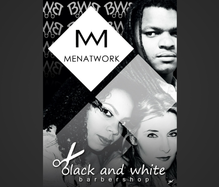 Black and White Barbershop - Man at Work